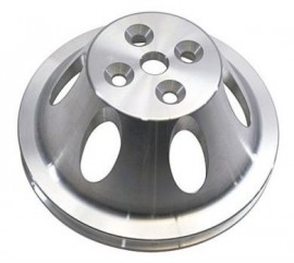Polished Aluminum Chevy Small Block SWP Single Groove Pulley Set
