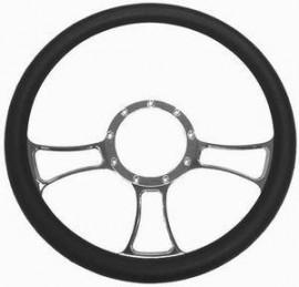 Chrome Aluminum Trinity Style Steering Wheel