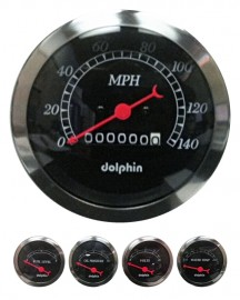 5 Piece black mechanical gauge set