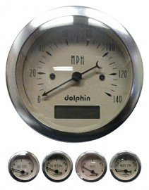 5 Piece beige mechanical gauge set